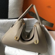 Hermes Gris Tourterelle Clemence Lindy 30cm Bag with GHW