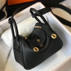 Hermes Mini Lindy Bag In Black Clemence Leather