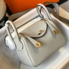 Hermes Mini Lindy Bag In Pearl Grey Clemence Leather