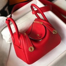Hermes Mini Lindy Bag In Red Clemence Leather