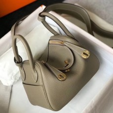 Hermes Mini Lindy Bag In Gris Tourterelle Clemence Leather