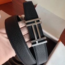 Hermes H Au Carre Belt Buckle & Black 32mm Strap