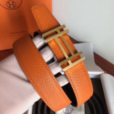 Hermes H Au Carre Belt Buckle & Orange 32mm Strap