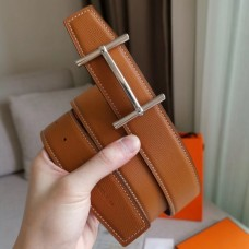 Hermes H d'Ancre Reversible Belt In Gold/Red Epsom Leather
