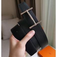 Hermes H d'Ancre Reversible Belt In Black/White Epsom Leather