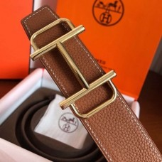 Hermes Royal 38MM Reversible Belt In Brown Clemence Leather