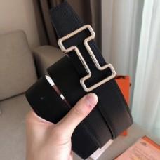 Hermes Tonight 38MM Reversible Belt In Black/White Epsom Leather