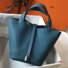 Hermes Picotin Lock 18 Bag In Blue Jean Clemence Leather