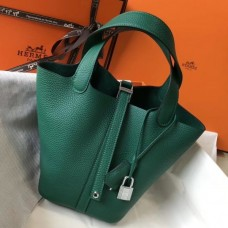 Hermes Picotin Lock 18 Bag In Malachite Clemence Leather