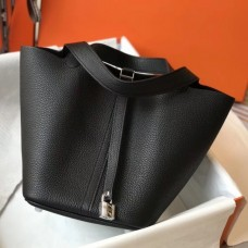 Hermes Picotin Lock 18 Bag In Black Clemence Leather
