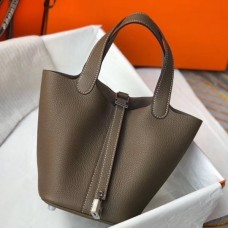 Hermes Picotin Lock 18 Bag In Taupe Clemence Leather