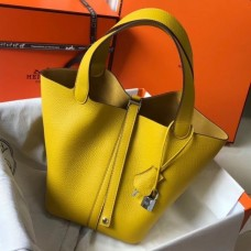 Hermes Picotin Lock 18 Bag In Yellow Clemence Leather