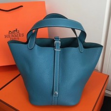 Hermes Blue Jean Picotin Lock MM 22cm Bag