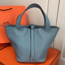 Hermes Blue Lin Picotin Lock MM 22cm Bag