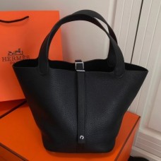 Hermes Black Picotin Lock MM 22cm Bag