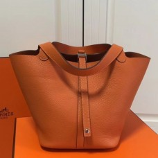 Hermes Orange Picotin Lock MM 22cm Bag