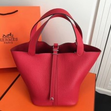 Hermes Red Picotin Lock MM 22cm Bag