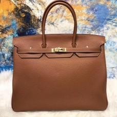Hermes Brown Clemence Birkin 40cm Handmade Bag
