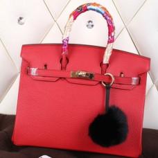 Hermes Red Clemence Birkin 40cm Handmade Bag