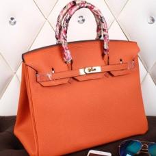 Hermes Orange Clemence Birkin 40cm Handmade Bag