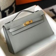 Hermes Kelly Pochette Bag In Blue Glacier Epsom Leather