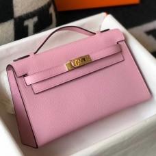 Hermes Kelly Pochette Bag In Mauve Sylvestre Epsom Leather