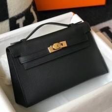 Hermes Kelly Pochette Bag In Black Epsom Leather