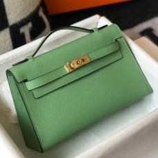 Hermes Kelly Pochette Bag In Vert Criquet Epsom Leather