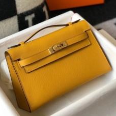 Hermes Kelly Pochette Bag In Yellow Epsom Leather