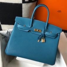 Hermes Birkin 30cm 35cm Bag In Jean Blue Clemence Leather