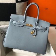 Hermes Birkin 30cm 35cm Bag In Blue Lin Clemence Leather