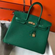 Hermes Malachite Clemence Birkin 30cm 35cm Handmade Bag