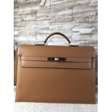 Hermes Brown Epsom Kelly Depeche 38cm Briefcase Bag