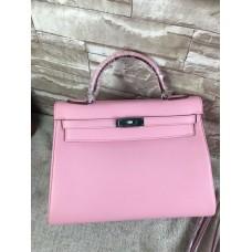 Hermes Sakura Pink Swift Kelly 32cm Retourne Handmade Bag
