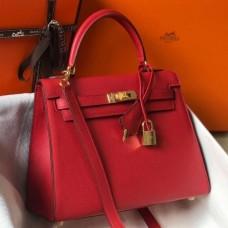 Hermes Red Epsom Kelly 25cm Sellier Handmade Bag