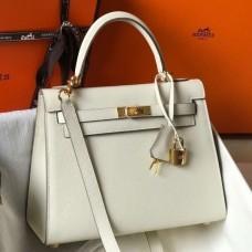 Hermes White Epsom Kelly 25cm Sellier Handmade Bag