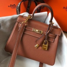 Hermes Brown Clemence Kelly 20cm GHW Bag
