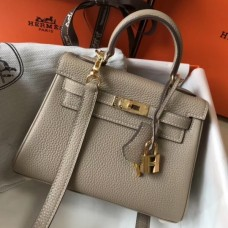 Hermes Grey Clemence Kelly 20cm GHW Bag