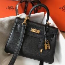 Hermes Black Clemence Kelly 20cm GHW Bag