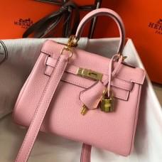 Hermes Pink Clemence Kelly 20cm GHW Bag
