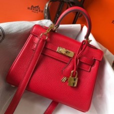 Hermes Red Clemence Kelly 20cm GHW Bag