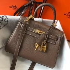 Hermes Etoupe Clemence Kelly 20cm GHW Bag