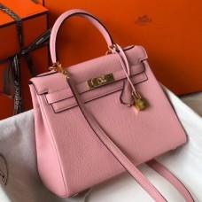 Hermes Pink Clemence Kelly 25cm GHW Bag