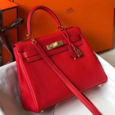 Hermes Red Clemence Kelly 25cm GHW Bag