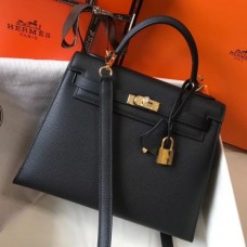 Hermes Black Epsom Kelly 25cm Sellier Handmade Bag