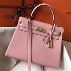 Hermes Pink Clemence Kelly 28cm Bag