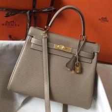 Hermes Grey Clemence Kelly 28cm Bag