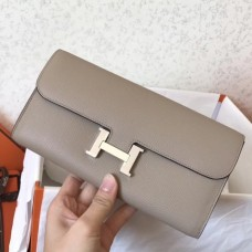 Hermes Constance Wallet In Grey Epsom Leather
