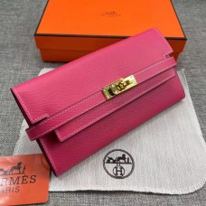 Hermes Kelly Longue Wallet In rose Clemence Leather
